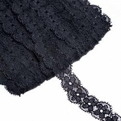 Taśma koronka elastyczna Czarna 18mm