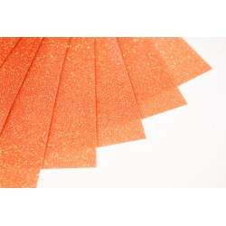 Glitter hot fix foil sheets 20x25cm SFF-54 FLUO Orange 10 pcs