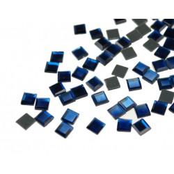 Kwadraciki szklane termoszkiełka 6x6mm Ciemny Niebieski (Sapphire)