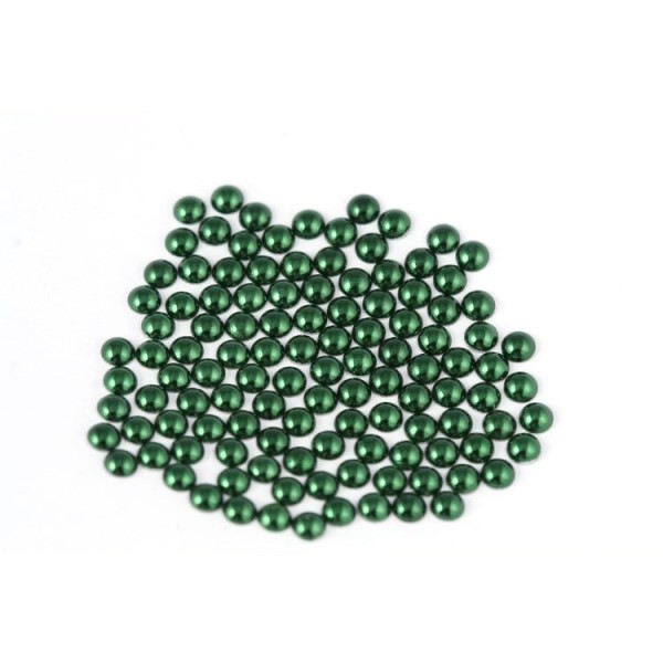 Metal half pearls 3 mm Green
