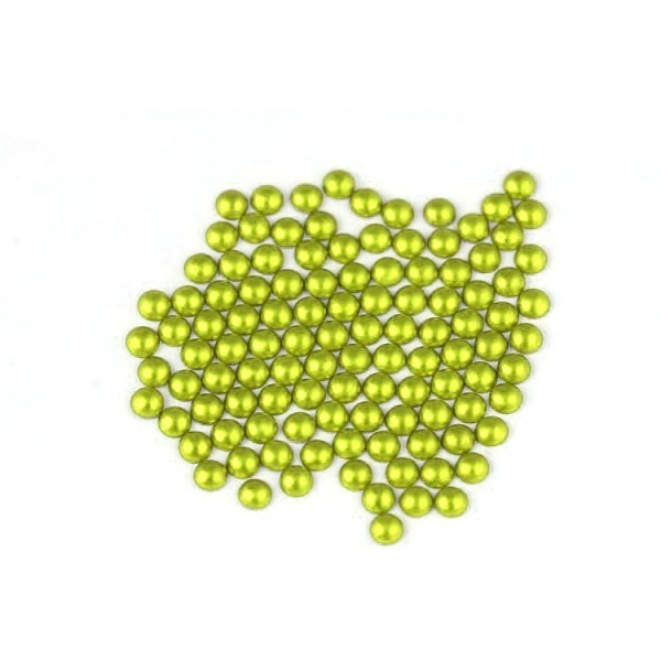 Metal half pearls 4 mm Matt Lime