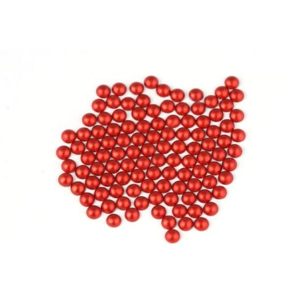 Metal half pearls 4 mm Matt Red