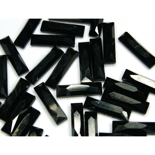 Faceted stones – rectangle 8x24 mm Nor. Black