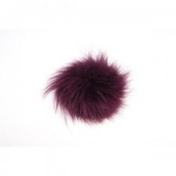 Pompon do czapki z naturalnego futra z lisa 10cm Śliwkowy