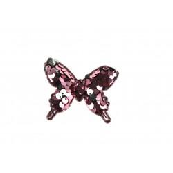 Aplikacja materiałowa z cekinami Różowy Motyl