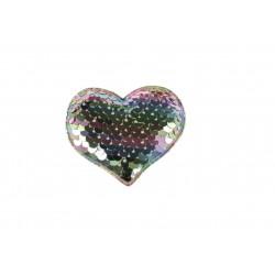 Aplikacja materiałowa z cekinami odwracalnymi TĘCZA Serce