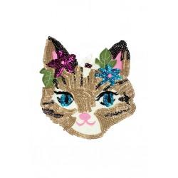 Aplikacja z cekinów na siateczce Kot