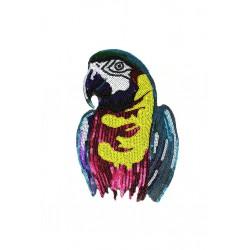 Aplikacja z cekinów Papuga