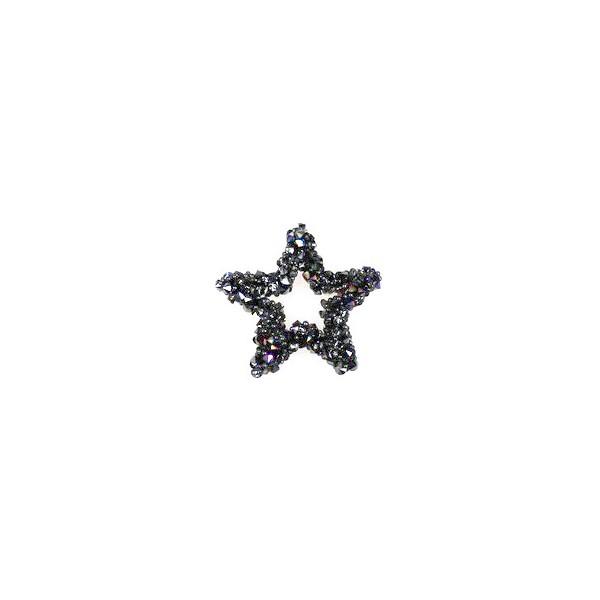 Aplikacja biżuteryjna termoprzylepna Gwiazdka Hematytowa 20x20 mm