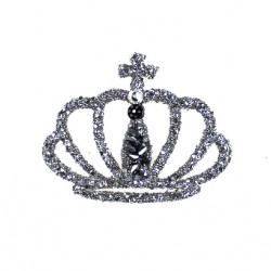 Aplikacja biżuteryjna termoprzylepna Korona srebrna 35x45 mm