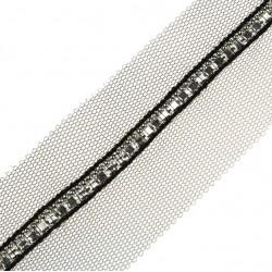Taśma siateczka elegancka ze srebrnym łańcuszkiem dżetów TL10