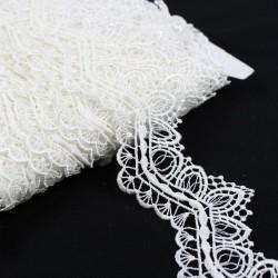 Taśma koronkowa elegancka biała TL12