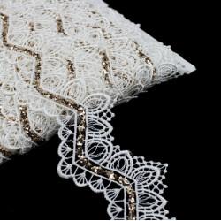 Taśma koronkowa elegancka biała TL14