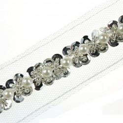 Taśma do wszycia siateczka z perłami 20 mm TL20