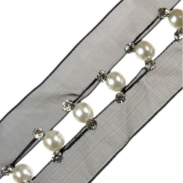 Taśma do wszycia siateczka z perłami 40 mm TL22