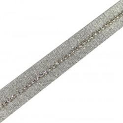 Taśma do wszycia błyszcząca Srebrna 18 mm TL42
