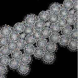 Taśma koronkowa gipiura 15,5 cm z dżetami TG1