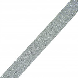 Taśma do wszycia srebrno - brokatowa elastyczna 20 mm