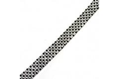 Taśma termo z dżetami srebrno-czarna 10 mm