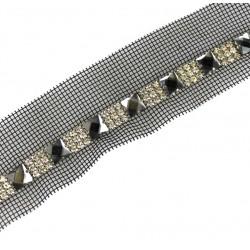 Taśma czarna siatka dżety i kamienia 42 mm