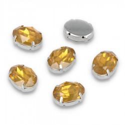 Kamienie do przyszycia w koszyczku Elipsa 13x18 mm Sunflower Opal