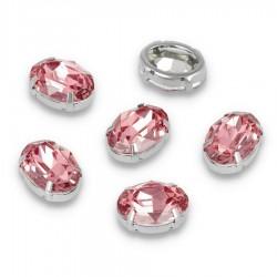 Kamienie do przyszycia w koszyczku Elipsa 13x18 mm Pink