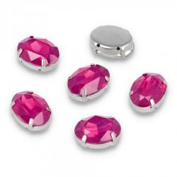 Kamienie do przyszycia w koszyczku Elipsa 13x18 mm Fuchsia Opal