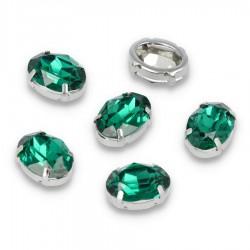Kamienie do przyszycia w koszyczku Elipsa 13x18 mm Emerald