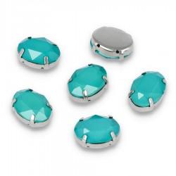 Kamienie do przyszycia w koszyczku Elipsa 13x18 mm Blue Zircon