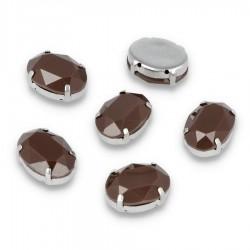 Kamienie do przyszycia w koszyczku Elipsa 13x18 mm Brown