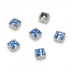 Kamienie do przyszycia w koszyczku Kwadrat 8 mm Sky Blue