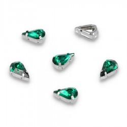 Kamienie do przyszycia w koszyczku Kropla 8x13 mm Emerald
