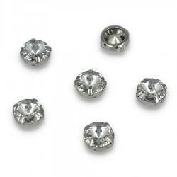 Kamienie do przyszycia w koszyczku Okrąg 14x14 mm Crystal