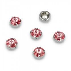 Kamienie do przyszycia w koszyczku Okrąg 12x12 mm Pink