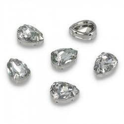 Kamienie do przyszycia w koszyczku Łezka 13x18 mm Crystal