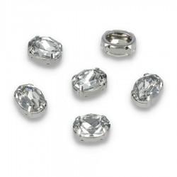 Kamienie do przyszycia w koszyczku Elipsa 10x14 Crystal