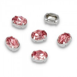 Kamienie do przyszycia w koszyczku Elipsa 10x14 Pink