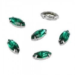 Kamienie do przyszycia w koszyczku Owal 7x15 Emerald