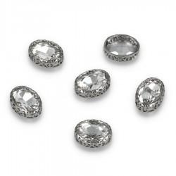 Kamienie do przyszycia w koronkowym koszyczku Elipsa 12x16 Crystal