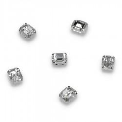 Kamienie do przyszycia w koszyczku Prostokąt Zaokrąglony 8x10mm Crystal