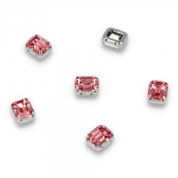 Kamienie do przyszycia w koszyczku Prostokąt Zaokrąglony 8x10 mm Pink