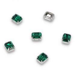 Kamienie do przyszycia w koszyczku Prostokąt Zaokrąglony 8x10 mm Emerald