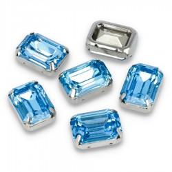 Kamienie do przyszycia w koszyczku Prostokąt Zaokrąglony 13x18 mm Crystal