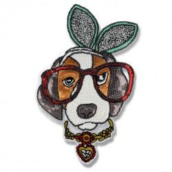 Aplikacja z cekinów haftowanych na siateczce Pies w okularach A026
