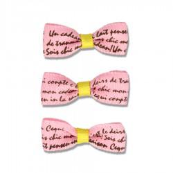 Kokardka atłasowa z napisami 10x26 mm Różowa 3 szt.