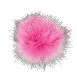 Pompon z eko futra 13cm Różowy