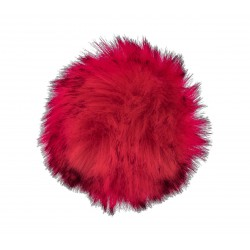 Pompon z eko futra 13cm Czerwony