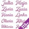 Pastelowo różowe naprasowanki imienne dla dziewczynki (21,5 cm) - 2 szt.